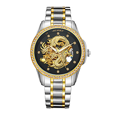 Heren Modieus horloge Japans Automatisch opwindmechanisme Waterbestendig Hol Gegraveerd s Nachts oplichtend Roestvrij staal 24 Karaats
