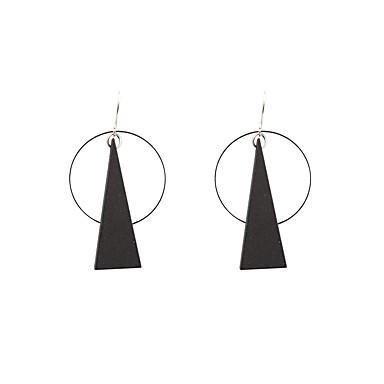 للمرأة أقراط قطرة مجوهرات مخصص هندسي موضة أسلوب بسيط الخشب الطبيعي مثلث مجوهرات أسود زفاف الذكرى السنوية تدفئة المنزل مناسبة / حفلة لباس