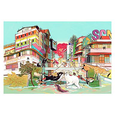 لعبة سيارات تركيب مربع بدعة الحيوانات خشبي خشب أنيمي للجنسين هدية