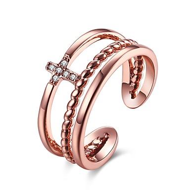 Dames Ring Zirkonia Zilver Goud Rose Ruusukulta Zirkonia Koper Verzilverd Geometrische vorm Lijnvorm epäsäännöllinen Gepersonaliseerde