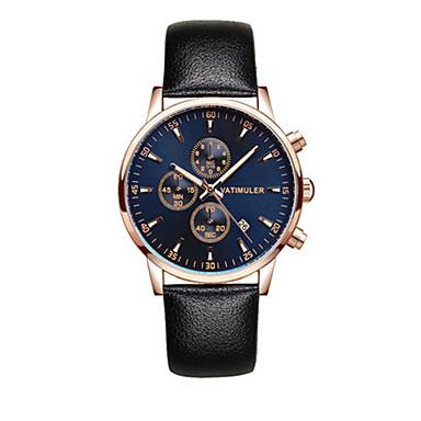 Heren Modieus horloge Japans Kwarts Kalender Chronograaf s Nachts oplichtend Leer Band Zwart Bruin