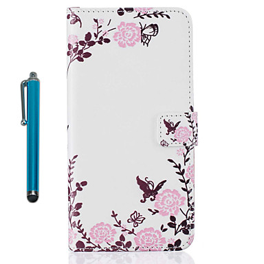 Voor Apple iPhone 7 plus 7 6s plus 6s 5 5s Se Case Cover Kaarthouder Portemonnee Met Stand Flip Pattern Full Body Case Met Stylus Flower