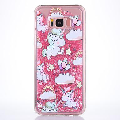 Hülle Für Samsung Galaxy S8 Plus S8 Mit Flüssigkeit befüllt Transparent Muster Rückseitenabdeckung Einhorn Weich TPU für S8 S8 Plus S7