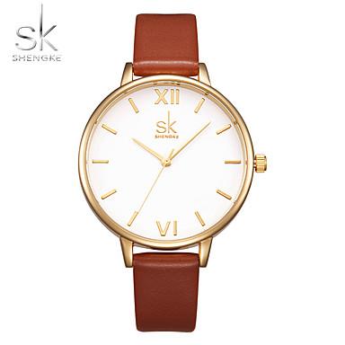 Dames Modieus horloge Polshorloge Chinees Kwarts Stootvast Grote wijzerplaat PU Band Luxe Informeel minimalistische Bruin