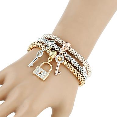 Dames Armbanden met ketting en sluiting Wikkelarmbanden Strand Armbanden Rock Kostuum juwelen Modieus Punk-stijl Metaallegering Strass