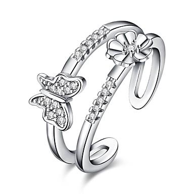 Damen Ring Kubikzirkonia Basis Einzigartiges Design Herz Geometrisch Kreis Freundschaft Punkstil bezaubernd individualisiert Hip-Hop