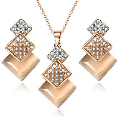 Damen Schmuckset Halskette / Ohrringe Braut-Schmuck-Sets Kristall Strass Synthetischer Opal Luxus Anhänger Stil Böhmische Brautkleidung