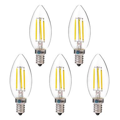 BRELONG® 5pcs 4W 350 lm E14 Bec Filet LED C35 4 led-uri COB Alb Cald Alb AC 220-240V