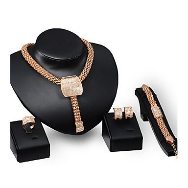 Dames Sieraden Set Bergkristal Strass Verguld Legering Vierkant Anderen Gepersonaliseerde Luxe Vintage Opvallende sieraden Euramerican