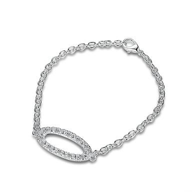 Dames Meisjes Armbanden met ketting en sluiting Kristal Vriendschap Modieus Punk-stijl Rock Verzilverd Ovalen vorm Sieraden Voor Bruiloft