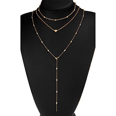 olcso Divat nyaklánc-Női Többrétegű Rojt Rövid nyakláncok Szív hölgyek Bojt minimalista stílusú Többrétegű Arany Ezüst Nyakláncok Ékszerek Kompatibilitás Esküvő Parti Ajándék Napi Hétköznapi