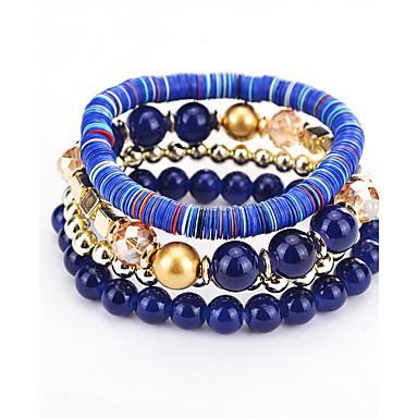 للمرأة أساور حبلا بوهيميان الطبيعة متعدد الطبقات توازن الطاقة موضة البلاستيك دائري مجوهرات عيد ميلاد حفل / مساء لباس يومي مجوهرات أبيض