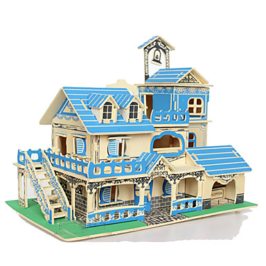 3D - Puzzle Holzpuzzle Holzmodelle Modellbausätze Quadratisch Haus 3D Holz Naturholz Unisex Geschenk