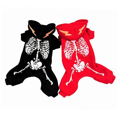 Câine Hanorace cu Glugă Crăciun Îmbrăcăminte Câini Halloween Cranii Negru Rosu Costume Pentru animale de companie