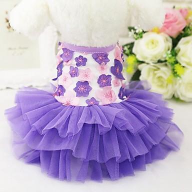 قط كلب الفساتين ملابس السهرة للرجال ملابس الكلاب حفلة كاجوال/يومي الزفاف الأزهار/النباتية أرجواني زهري