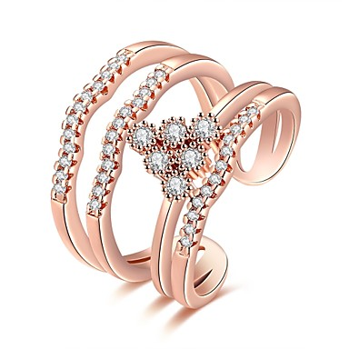 Pentru femei Inel Zirconiu Cubic Argintiu Roz auriu Zirconiu Articole de ceramică Argilă Crom Geometric Shape neregulat Floare