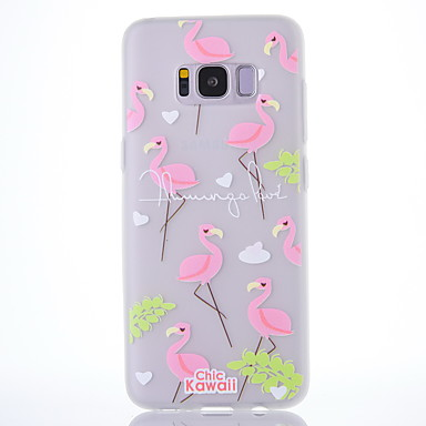 hoesje Voor Samsung Galaxy S8 Plus S8 Mat Doorzichtig Patroon Achterkantje Woord / tekst Flamingo Boom Zacht TPU voor S8 S8 Plus
