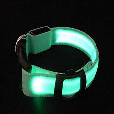 Nagetiere Hund Halsbänder LED-Lampen Tragbar Einstellbar Solide Nylon Gelb Grün Hellblau