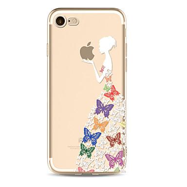 من أجل إفون 8 iPhone 8 Plus أغط / كفرات شفاف غطاء خلفي غطاء اللعب بشعار آبل فراشة امرآة مثيرة ناعم TPU إلى Apple iPhone 8 Plus iPhone 8