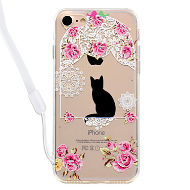 Maska Pentru Apple Transparent Model Carcasă Spate Pisica Floare Greu Acrilic pentru iPhone 7 Plus iPhone 7 iPhone 6s Plus iPhone 6 Plus