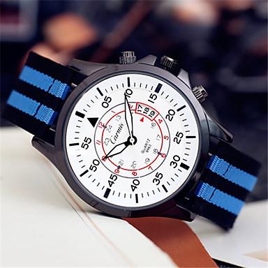 Heren Modieus horloge Kwarts Leer Band Blauw