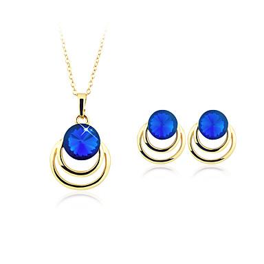 Damen Anhängerketten Kristall Imitierte Perlen versilbert vergoldet Kreisförmig Kreisform Geometrisch Kreisförmiges Anhänger Stil
