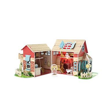 قطع تركيب3D تركيب بيت اللعبة نموذج الورق مربع بناء مشهور معمارية 3D خشبي العرائس فتيات هدية