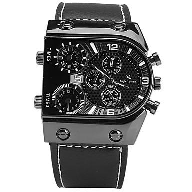 V6 Bărbați Ceas de Mână Ceas Sport Ceas La Modă Chineză Quartz Cronometru Mare Dial Piele Bandă Casual Cool Negru