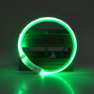 Chien Colliers Ajustable / Réglable Rechargeable Eclairage LED Sécurité Couleur Pleine Jaune Rouge Vert Bleu Rose
