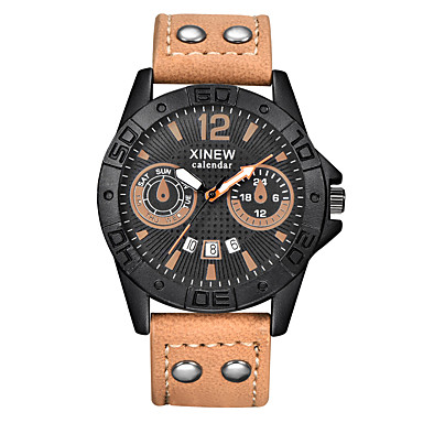 Heren Polshorloge Modieus horloge Kwarts PU Band Informeel Zwart Groen Kaki