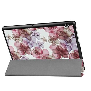 Кейс для Назначение Huawei MediaPad MediaPad T3 10(AGS-W09, AGS-L09, AGS-L03) со стендом Цветы Твердый Кожа PU для Huawei MediaPad T3