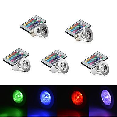 E14 GU10 E26/E27 LED-podiumlampen MR16 1 leds Krachtige LED Dimbaar Op afstand bedienbaar Decoratief RGB 250lm RGBK AC 85-265V
