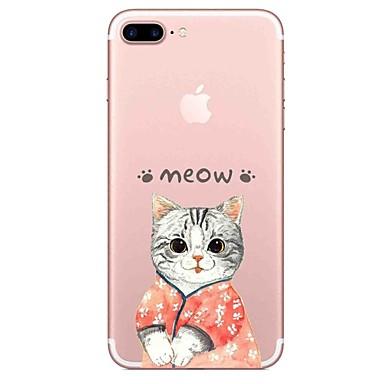 hoesje Voor Apple Transparant Patroon Achterkantje Kat Woord / tekst Zacht TPU voor iPhone 7 Plus iPhone 7 iPhone 6s Plus iPhone 6 Plus