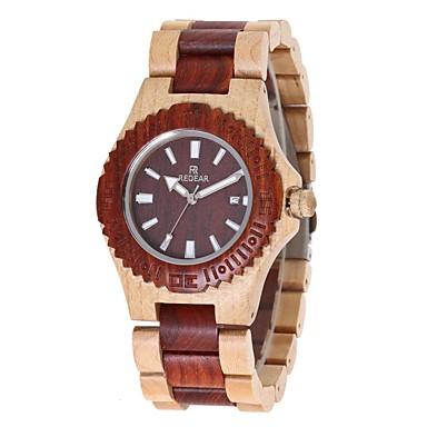 Pentru femei Quartz Ceas de Mână Japoneză de lemn Lemn Bandă Charm Lux Lemn Elegant Roșu Ivory