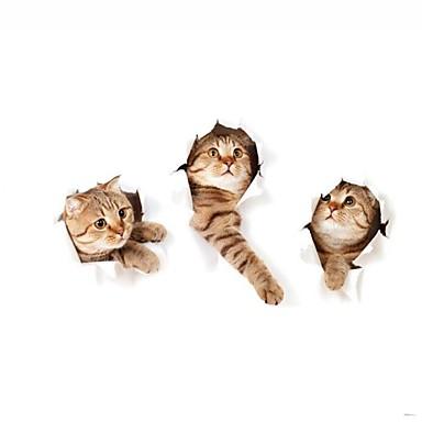 Animale Perete Postituri 3D Acțibilduri de Perete 3D,Vinil Pagina de decorare de perete Decal For Toaletă Frigider