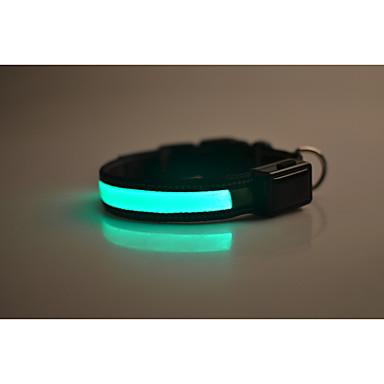 Câine Gulere Reflexiv / Lumini LED / Siguranță Mată Nailon Verde / Albastru / Roz