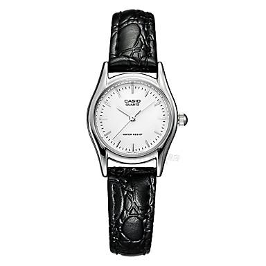 Casio Damen Modeuhr Armbanduhr Armbanduhren für den Alltag Japanisch Quartz Wasserdicht Leder Band Bettelarmband Bequem Elegante Schwarz