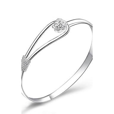 Dames Bangles Sieraden Modieus Koper Verzilverd Bloemvorm Sieraden Voor Bruiloft Feest Dagelijks gebruik