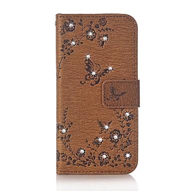 Pentru iPhone 7 iPhone 7 Plus Carcase Huse Portofel Titluar Card Stras Cu Stand Întoarce Embosat Corp Plin Maska Fluture Floare Greu PU