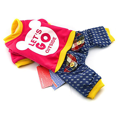 Hund Overall Hundekleidung Buchstabe & Nummer Purpur Gelb Fuchsia Rosa Baumwolle Daune Kostüm Für Haustiere Herrn Damen Lässig/Alltäglich