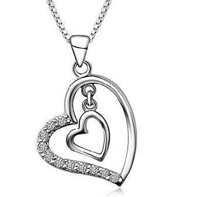 للمرأة قلائد الحلي مكعب زركونيا Heart Shape فضة الاسترليني موضة شخصية مجوهرات من أجل زفاف حزب هدية يوميا فضفاض