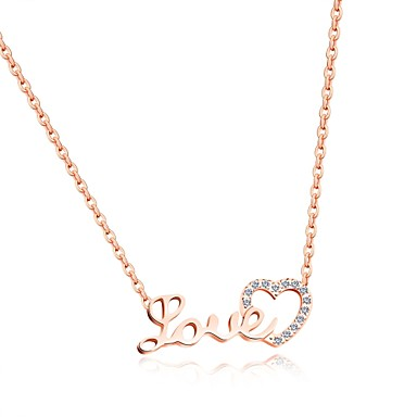 Pentru femei Lux Inimă Zirconiu Cubic Coliere cu Pandativ - Lux / Iubire / În Cruce Alb / Roz auriu Coliere Pentru Petrecere / Zi de
