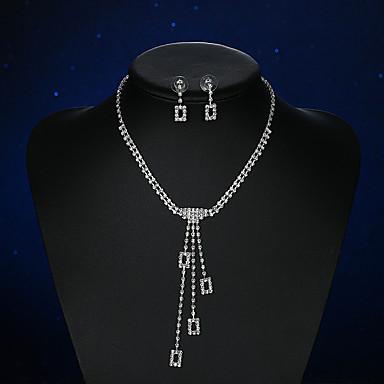 Pentru femei Cristal / Ștras Cristal / Argilă Set bijuterii - De Bază Pătrat Argintiu Cercei Stud / Lănțișor Pentru Nuntă / Petrecere /