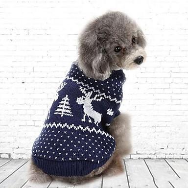 Pisici Câine Hanorca Îmbrăcăminte Câini Petrecere Casul/Zilnic Crăciun Mată Rosu Albastru Costume Pentru animale de companie