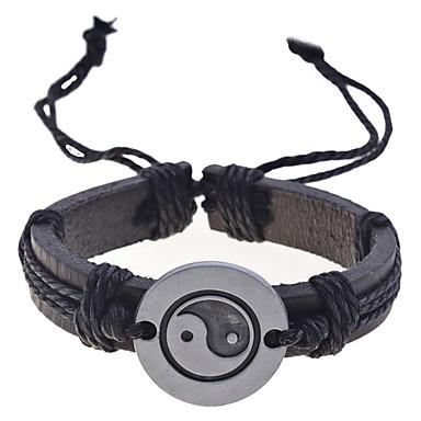 Муж. Плетение Браслеты с подвесками Кожаные браслеты - Кожа Уникальный дизайн, Мода Браслеты Черный Назначение Новогодние подарки Повседневные