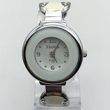 Pentru femei Ceas La Modă Ceas de Mână Chineză Quartz Metal Bandă Brățară rigidă Casual Alb Argint