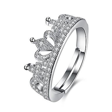 Pentru femei Band Ring Bijuterii Argintiu Teak Zirconiu Argilă Rotund Crown Shape Geometric Shape neregulat Personalizat Lux Clasic