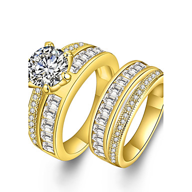 fbb53470df Couple's Diamond Cubic Zirconia Synthetic Diamond Couple Rings Zircon  Rhinestone Gold Plated Statement Luxury Bohemian Punk Simple Style Ring  Jewelry Gold ...