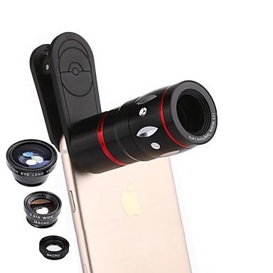 Macro de 12X Ângulo Grande 0.65X Lentes da câmera Kit de câmera para smartphone Xiaomi Huawei Samsung iPhone