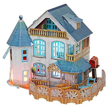قطع تركيب3D تركيب بيت اللعبة نموذج الورق بناء مشهور الخشب الطبيعي للأطفال للجنسين هدية